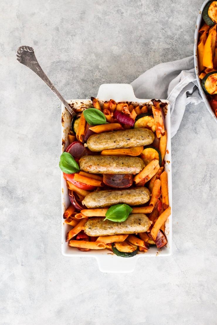Veggie Sausage Pasta Ratatouille Bake